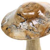 Holzpilz glasiert Natur/Weiß H20cm