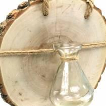 Holzscheibe mit Glasvase zum Hängen Ø22cm