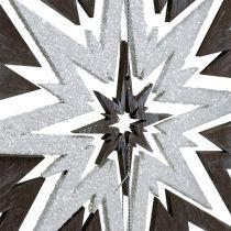 Holzstern zum Hängen Grau, Weiß 48cm x 40cm