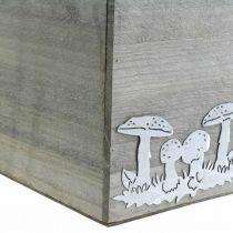 Holzwürfel mit Pilzen, Herbstdeko, Pflanzkiste 20/16/12cm 3er-Set