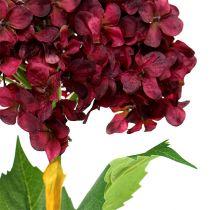 Hortensie künstlich Dunkelrot 80cm 1St