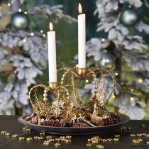 Kerzenhalter-Krone, Tischdeko, Advent, Krone aus Metall Golden Ø14cm H13cm