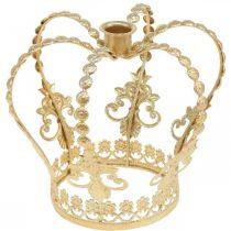 Krone mit Kerzenhalter, Deko für Weihnachten, Metalldeko, Deko-Krone Golden Ø19,5cm H16cm