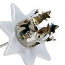 Kerzenhalter Stern Weiß-Silber Ø6cm 4St