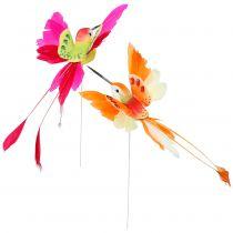 Kolibri am Draht zum Stecken Pink, Orange 17cm 6St