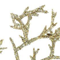 Korallenzweig mit Glimmer hellgold 3St