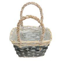 Korb mit Henkel Creme-Grau 20,5cm x 14cm H13cm