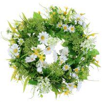 Frühlingskranz mit Gerbera Weiß, Gelb Ø30cm
