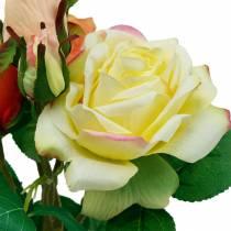 Kunstblumen, Rosenstrauß, Tischdeko, Seidenblumen, künstliche Rosen Gelb-Orange
