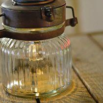 LED-Laterne, Hängelampe, Solarlicht im Glas Ø11cm H14cm