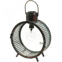 Solarlampe Metall Leuchte Balkon Deko Industrial Design Ø23cm