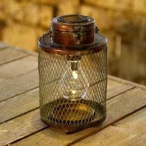 Metall-Laterne, Solarlampe, LED, Antik-Optik Ø13,5cm H28,5cm