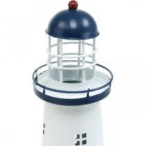 Leuchtturm Dunkelblau Maritime Deko Metall Sommerdeko