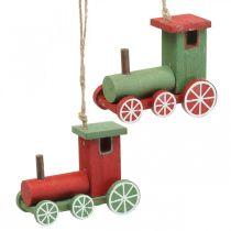 Lokomotive Christbaumschmuck Holz Rot, Grün 8,5×4×7cm 4St