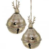 Metallglocken mit Rentierdeko, Adventsdeko, Weihnachtsglocke mit Sternen, Goldglocken Antik-Optik Ø9cm H14cm 2St