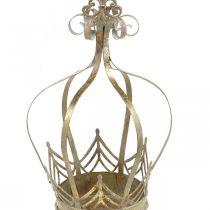 Krone aus Metall, Teelichthalter für Advent, Pflanzgefäß zum Hängen Golden, Antik-Optik Ø16,5cm H27cm