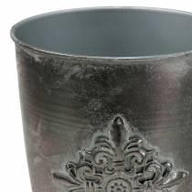 Deko Metallpokal Kelch mit Ornament Silbergrau Ø16,5cm H31cm