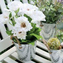 Metalltopf zum Bepflanzen, Blumentopf mit Henkeln, Pflanzgefäß mit Blumenmuster Ø18cm