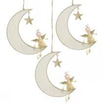 Adventsdeko, Engel auf Mond, Holzdeko zum Hängen Weiß, Golden H14,5cm B21,5cm 3St