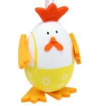 Bemaltes Ei als Hahn zum Hängen im Mix 7,5cm 12St