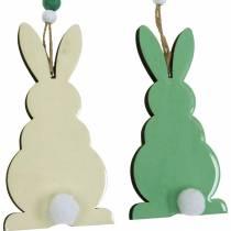 Osterhasen zum Hängen, Frühlingsdeko, Anhänger, Deko-Hasen Grün, Weiß 3St