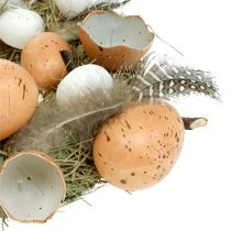 Osterkranz mit Eiern Ø24cm Natur, Weiß