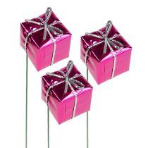 Päckchen 2,5cm am Draht Pink 60St