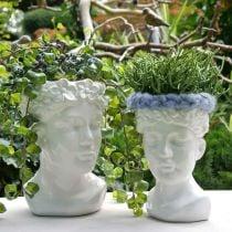 Pflanzkopf Büste Frau Weiß Keramik Vase Blumentopf H22,5cm