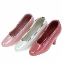 Pflanzgefäß Damenschuh Keramik Creme, Rosa, Pink Sortiert 20×6cm H12cm 3St
