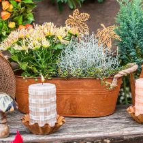 Pflanztopf mit Henkeln, Kräuterschale, Herbstdeko, Edelrost L28cm H11cm