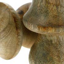 Pilz Mangoholz Natur Holzpilz Herbstdeko Ø5cm H7,5cm 6St