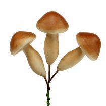Pilze am Draht Braun 7cm 18St