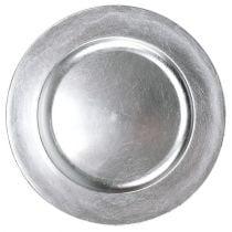 Plastikteller 25cm Silber mit Blattsilber-Effekt