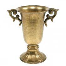 Deko-Pokal mit Henkeln Golden Ø11cm H17,8cm Antik-Optik