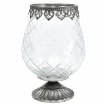 Deko-Glaspokal mit Metallfuß Ø16cm H23,5cm