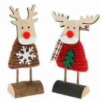 Rentier und Elch mit Weihnachtspullover Braun/Rot H14,5/13,5cm 6St