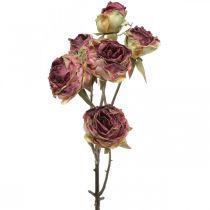Künstliche Rose, Tischdeko, Kunstblume Rosa, Rosenzweig Antik-Optik L53cm