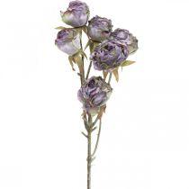 Rosenzweig, Seidenblume, Tischdeko, Kunstrose Lila Antik-Optik L53cm