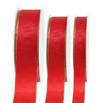 Satinband Rot mit Goldkante 40m