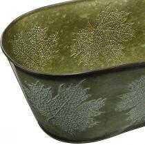 Pflanzschale für den Herbst, Metalldeko mit Blattdekor Grün L38cm H15cm