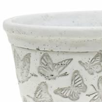 Pflanztopf Schale Weiß mit Schmetterlingen 17cm x 12cm H8cm 2St
