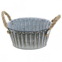 Metallschale zum Bepflanzen, Pflanztopf mit Henkeln, Blumenschale Ø22cm