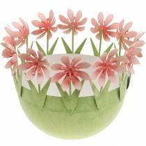 Pflanzschale, Frühlingsdeko, Metallschale mit Blütendeko, Osterkorb