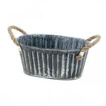 Pflanzschale aus Metall, Blumenschale zum Bepflanzen, Deko-Schale mit Henkeln L22,5cm