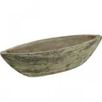 Pflanzschale oval Keramik Holz Look Hellbraun 37×11,5cm H10cm