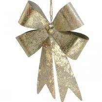 Schleife zum Hängen, Christbaumschmuck, Metalldeko Golden, Antik-Optik H23cm B16cm