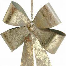Schleifen aus Metall, Weihnachtsanhänger, Adventsdeko Golden, Antik-Optik H18cm B12,5cm 2St