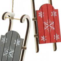 Holzschlitten, Winterdeko zum Hängen, Deko für den Advent Grau / Rot L13cm 6St
