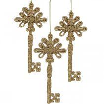 Deko-Schlüssel, Weihnachtsdeko mit Glitter, Christbaumschmuck Golden H15,5cm 12St