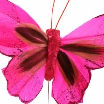Federschmetterling mit Draht 7cm Rosa Lila 24St